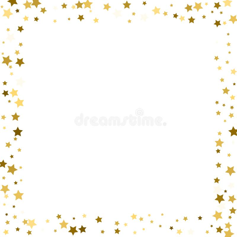 Frame gold stars on a white background stock illustration
