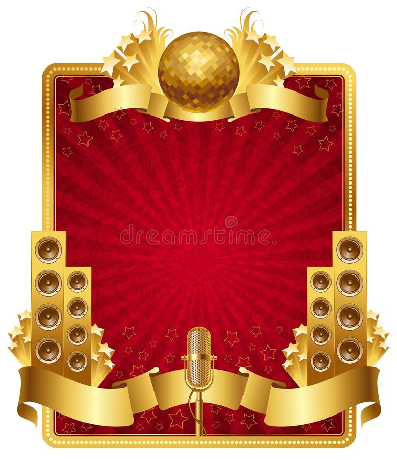 Frame with golden musical objects stock illustration