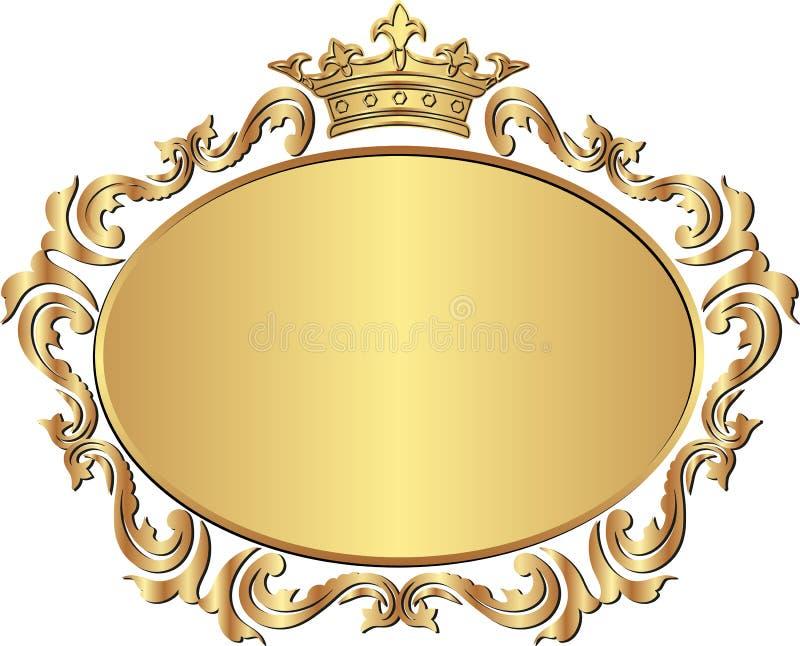 Frame. Golden royal frame with crown vector illustration