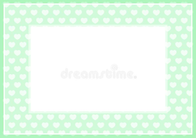 Frame of green pastel color soft and hearts shape for banner background and copy space white paper, heart shape on green soft. The frame of green pastel color royalty free illustration