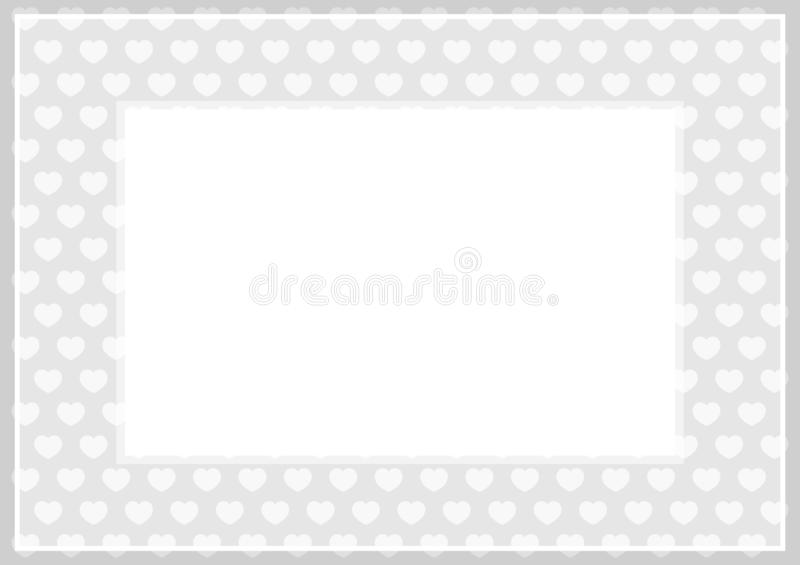 Frame of grey pastel color soft and hearts shape for banner background and copy space white paper, heart shape on grey soft, heart. The frame of grey pastel royalty free illustration