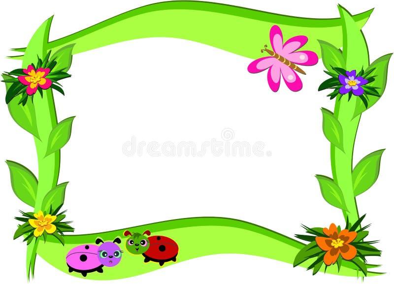 Frame grosso com flores e erros ilustração stock