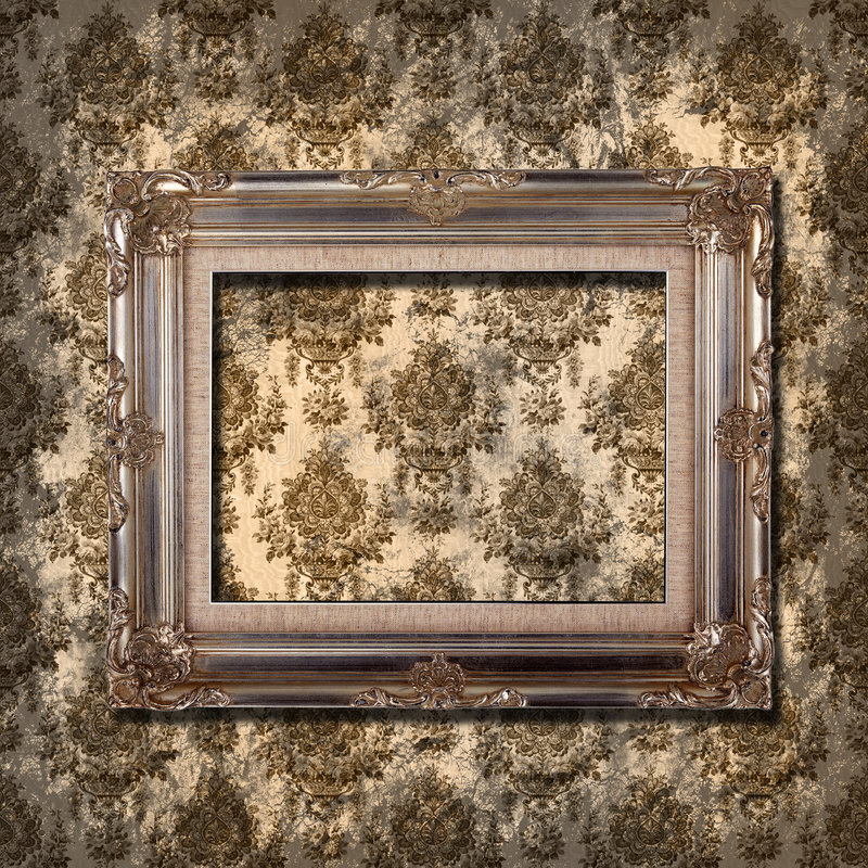 Frame on grunge wallpaper. Grungy wallpaper with vintage gold frame stock image