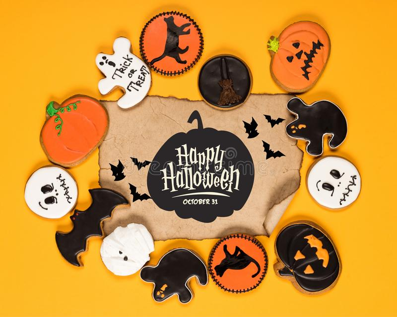 Frame of halloween cookies royalty free stock photo