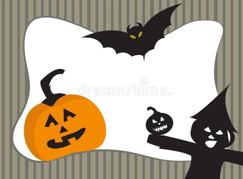 Halloween pumpkin frame with copy space. Vector spooky frame design. royalty free illustration