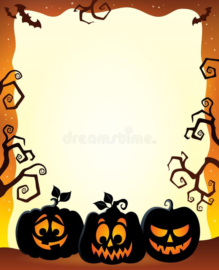 Frame With Halloween Pumpkin Silhouettes Stock Vector - Illustration ...