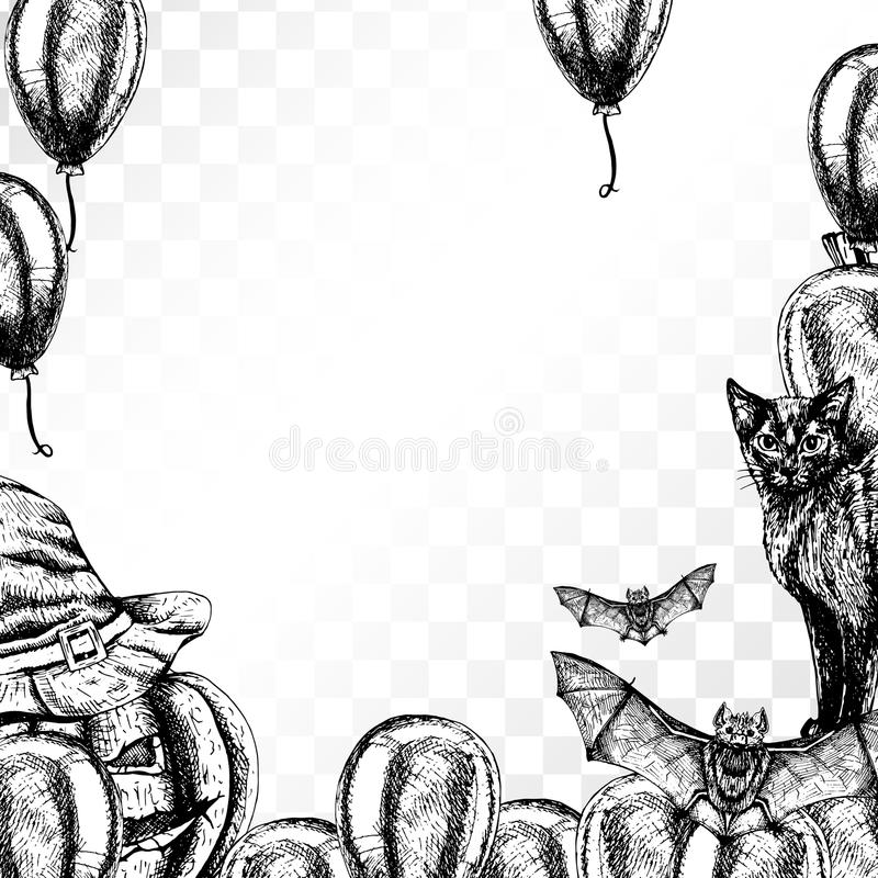 Frame Halloween On Transparent Background Patterned Border Black And White Graphic Vintage Design Template With Cat Witch Hat Bat Pumpkin Balloon