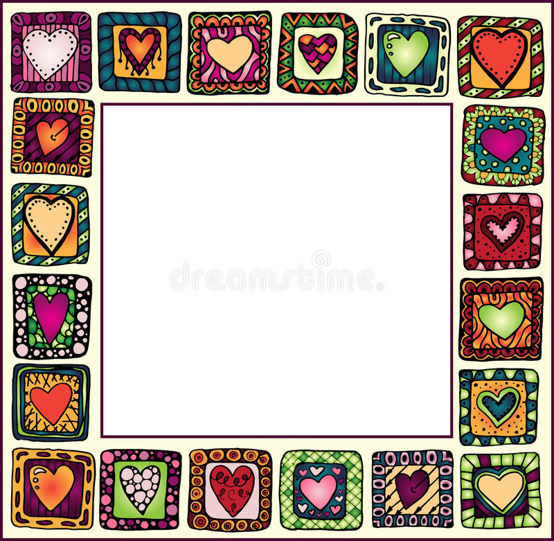 Frame with hand-drawn hearts in doodle frames. vector illustration