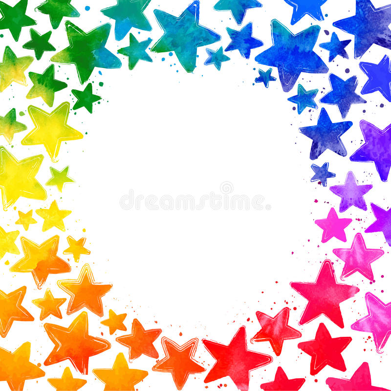 Frame with hand drawn watercolor colorful stars stock photo