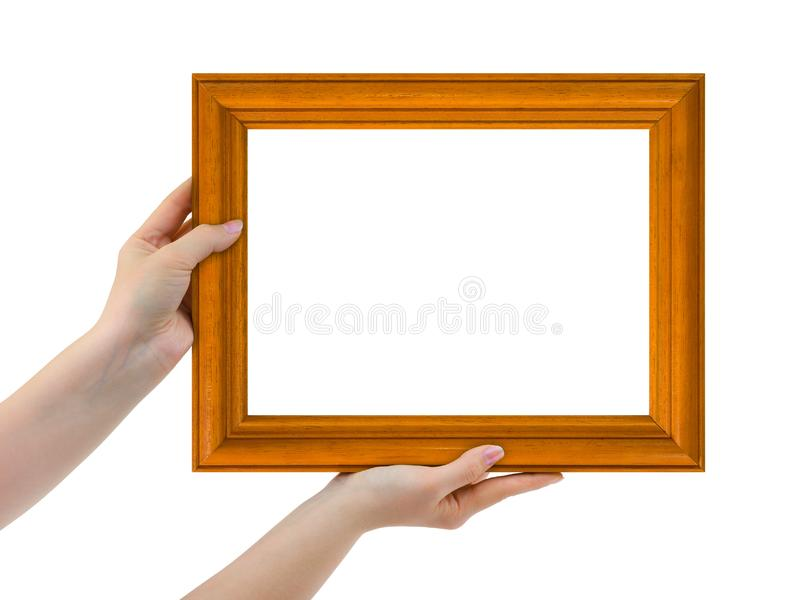 Frame in hands stock image