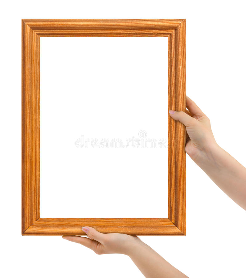 Frame in hands. Isolated on white background royalty free stock images