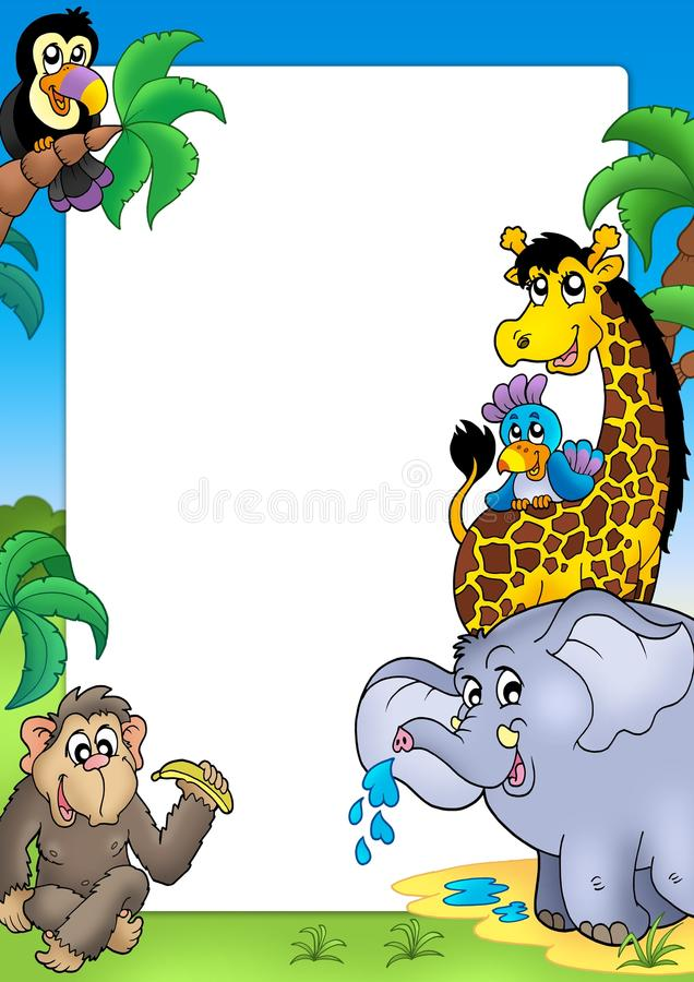 Frame with happy African animals royalty free illustration