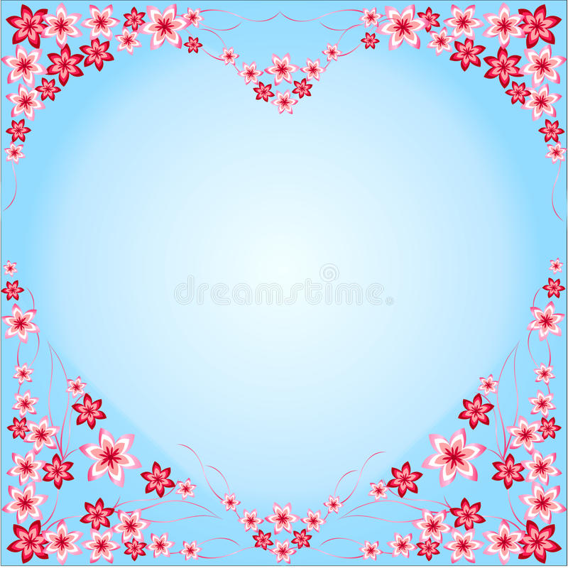 Frame Heart from flowers, red, pink, blue background, blue, heart-shaped, multicolored different, flowers, beautiful heart, intere royalty free illustration