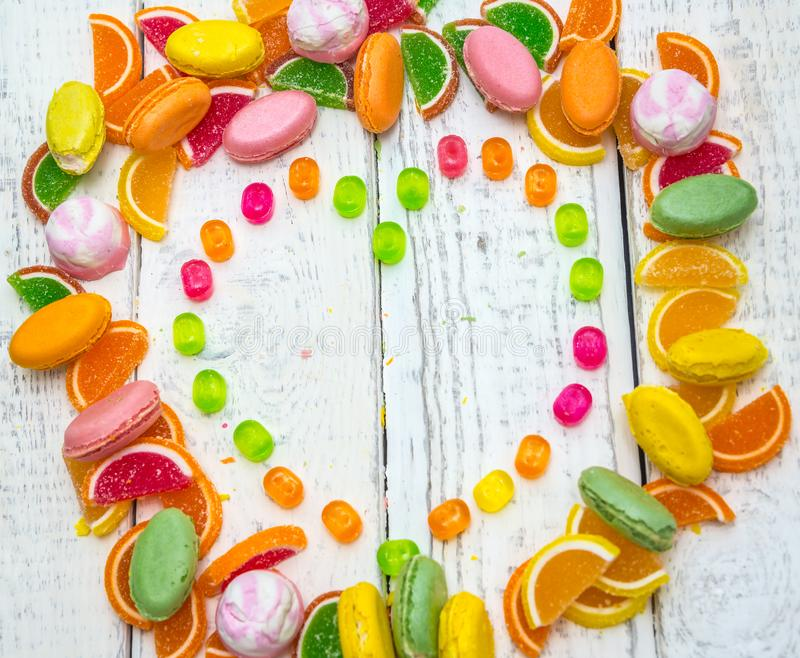 Frame heart-shaped candies on the background royalty free stock photo