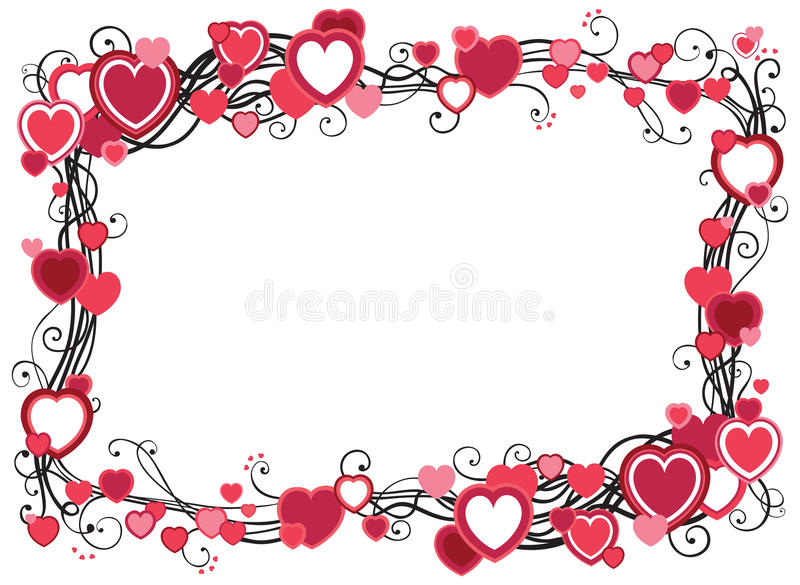 Frame with hearts stock illustration