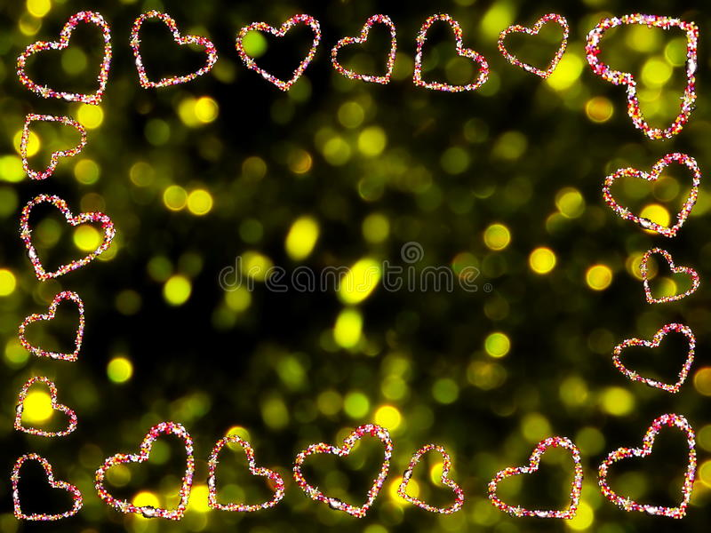 Frame of hearts. Beautiful frame of multi-colored hearts on a yellow background royalty free stock images
