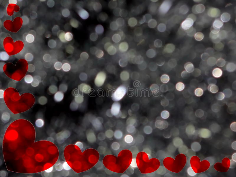 Frame of hearts. Beautiful frame of red hearts on shiny background stock photos