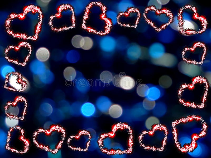 Frame of hearts. Beautiful frame of shiny hearts on blue background stock image