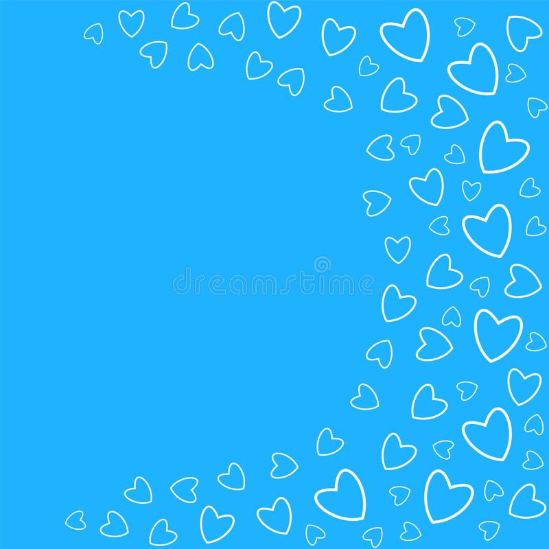 frame of hearts on a blue background prints, greeting cards, invitations for holiday, birthday, wedding, Valentine's day, party. vector illustration