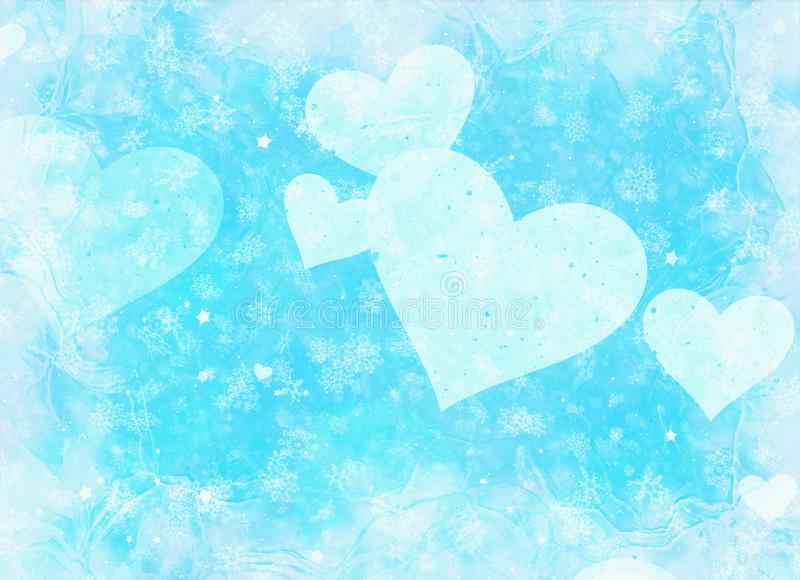 Frame with hearts on snowfall and stars backgrounds vector illustration