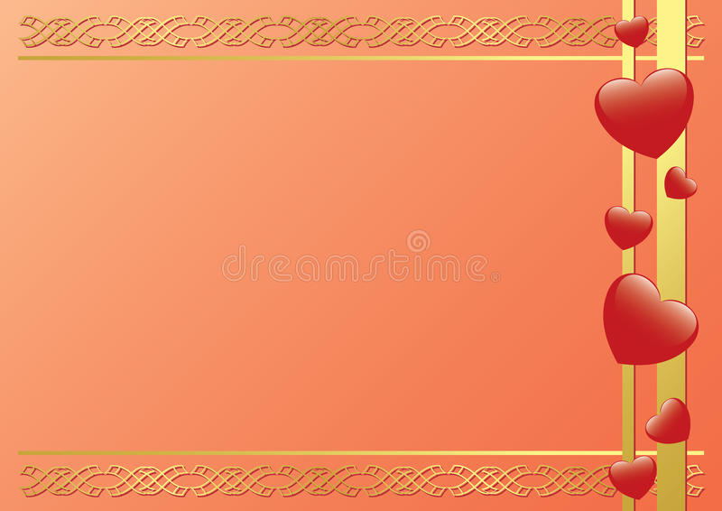 Frame With Hearts And Tracery - Vector Stock Images