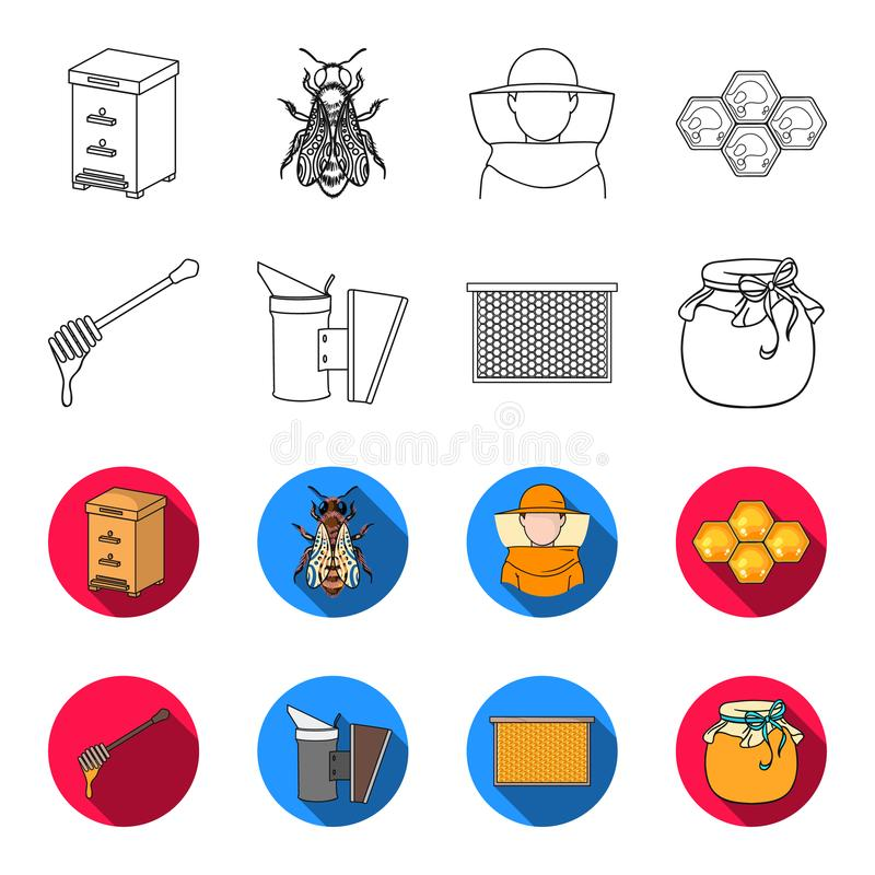A frame with honeycombs, a ladle of honey, a fumigator from bees, a jar of honey.Apiary set collection icons in outline. Flat style vector symbol stock vector illustration