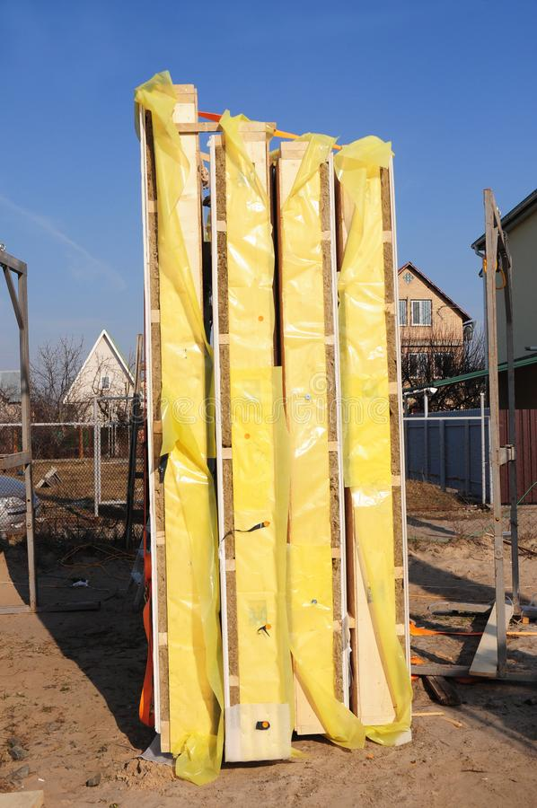 Frame house insulation panels. Timber Frame Panels, Structural Insulated Panels, SIPs. Frame house insulation panels. Timber Frame Panels, Structural Insulated stock photos