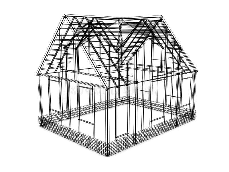 frame house sketch vector illustration