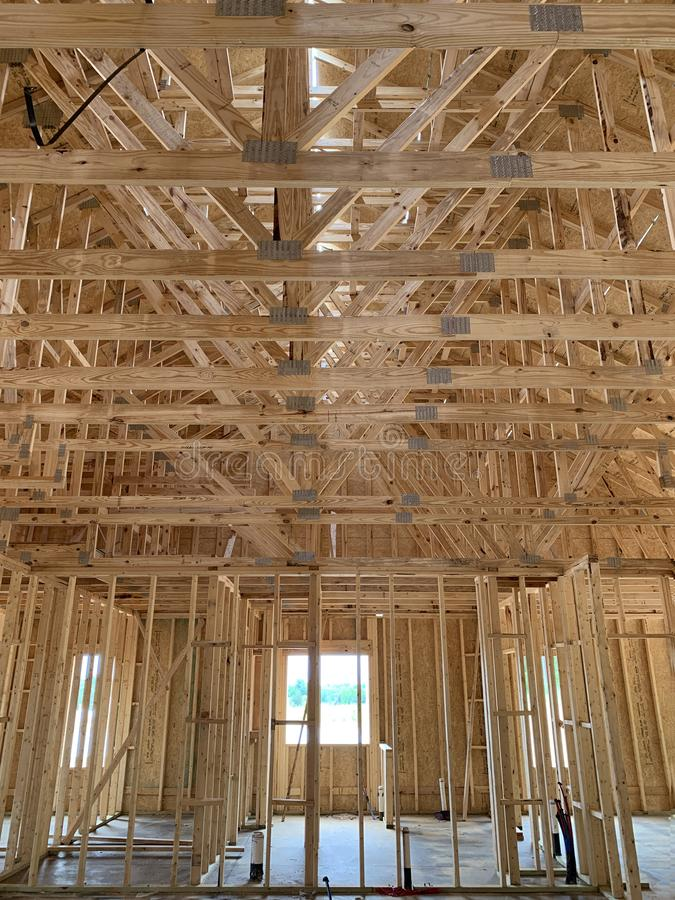 Frame interior construction stock photography