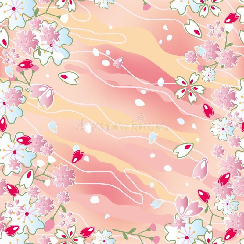 Frame japonês sem emenda das flores de cereja ilustração do vetor