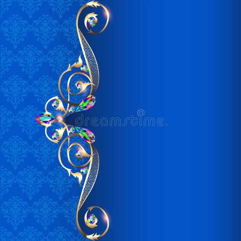 frame with jewels and geometric designs in gold vector illustration