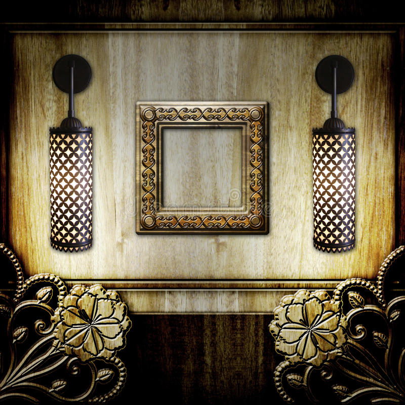Download Frame And Lamps On Wooden Background Stock Illustration - Image: 24834778