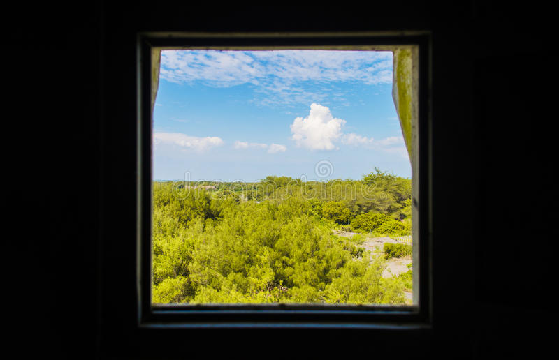 Frame the landscape. A picture that I take in the in the tower`s window royalty free stock photo