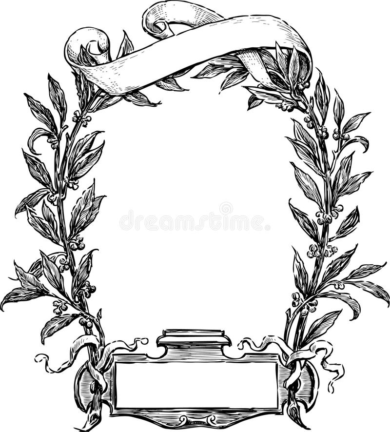 Frame of laurel and ribbon stock vector. Illustration of twig - 31105570