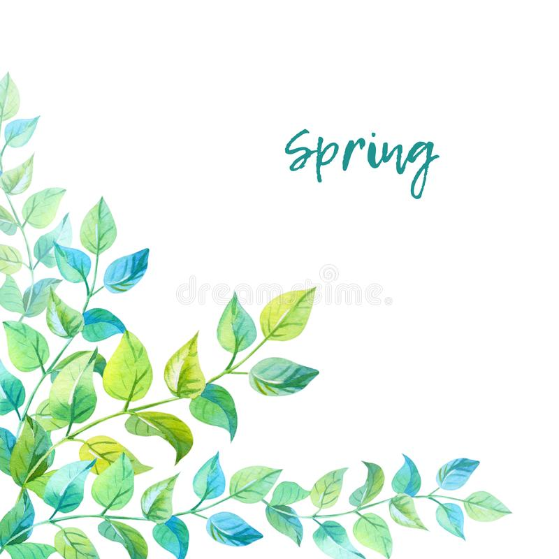 Frame of leaves.Watercolor illustration with green twigs on a white background. stock illustration