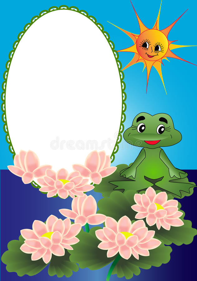 Frame lily and frog. Illustration frame lily and frog on turn blue background vector illustration