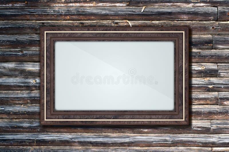 Download Frame on a log wall stock illustration. Image of frame - 32283386