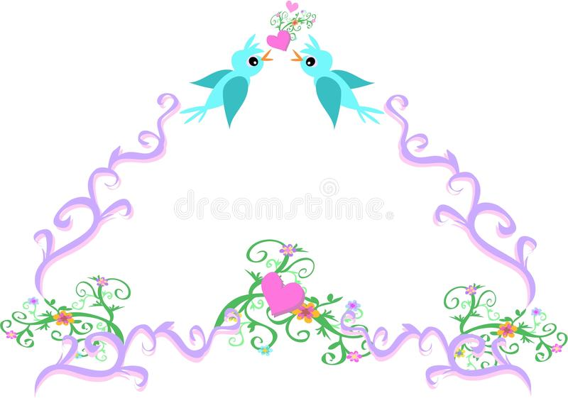 Download Frame Of Love Birds, Vines, And Flowers Stock Photo - Image: 10736480