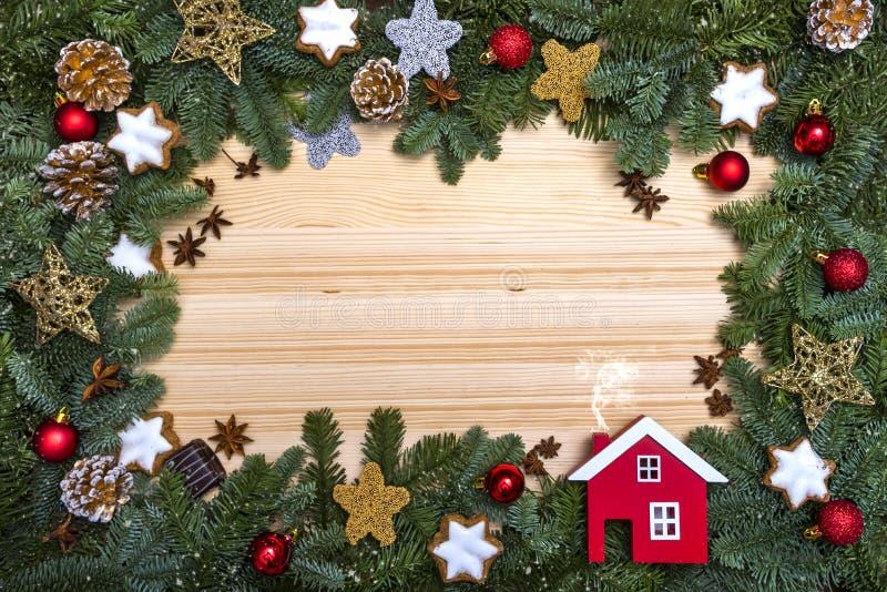 Frame mágico azul do Natal Cartão de Natal Cumprimentos do ` s do ano novo fotos de stock royalty free