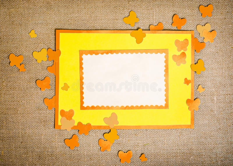 Frame made of paper. With butterflies royalty free stock images