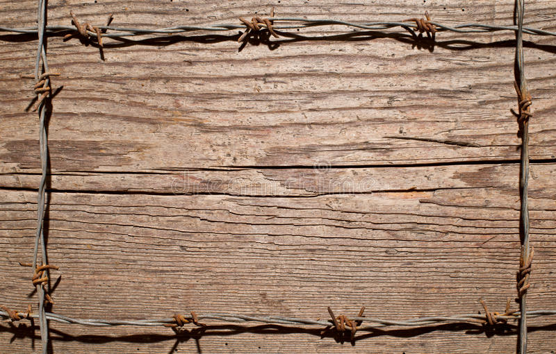 Frame made of barbed wire stock photography