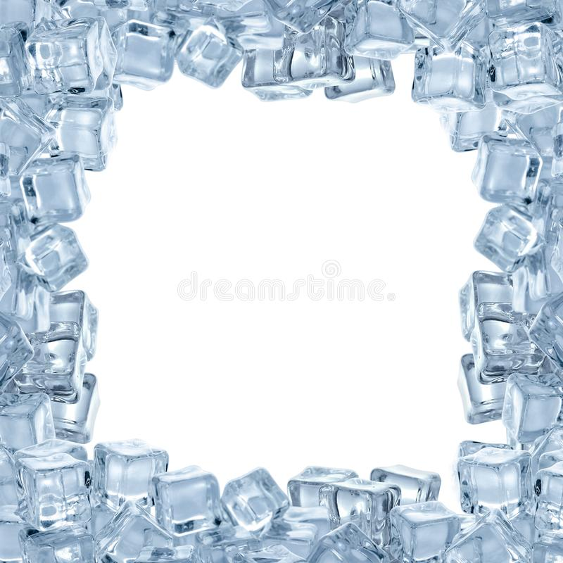 Frame made of crystal clear ice cubes on white background royalty free stock image