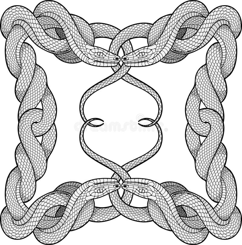 Frame made of four twisted snakes vector illustration