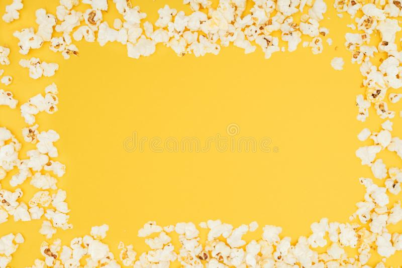 Frame made of fresh tasty popcorn isolated royalty free stock images