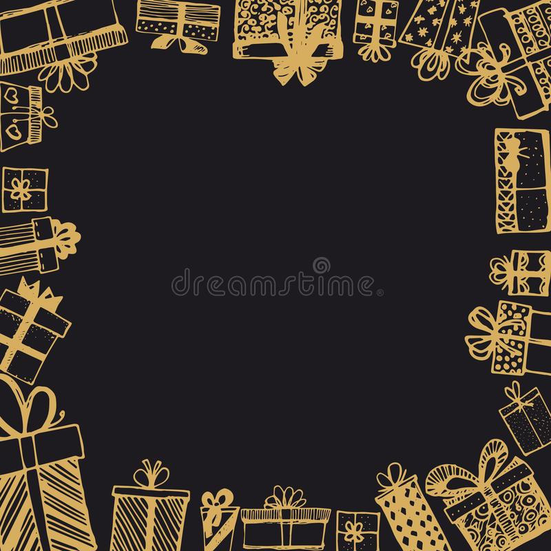 Frame made of gifts. Vector template of magazines, posters, book cover .Gifts around ad. Shopping sale banner. royalty free illustration