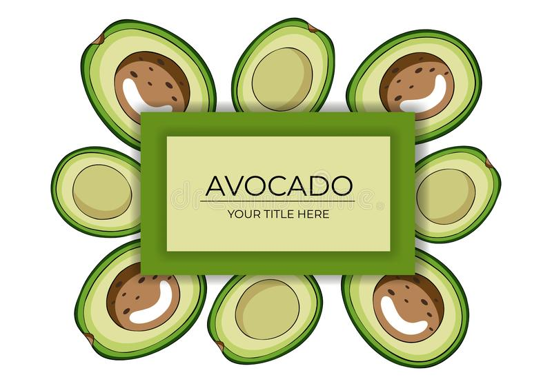 Frame made of halved green avocados with brown bones and with space for text vector illustration