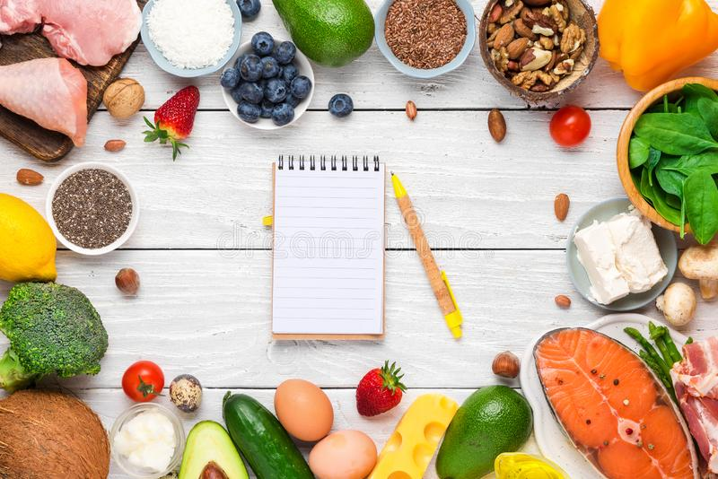 Frame made of healthy food low carb keto ketogenic diet with paper notebook. high good fat products. On white wooden background. top view royalty free stock photos