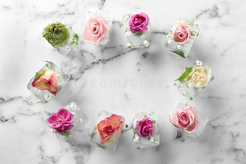 Frame made of ice cubes with flowers on marble background, flat lay royalty free stock images