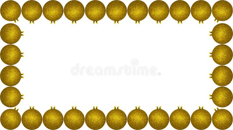 Frame made from a lot of gold Christmas baubles, isolated on a white background with a clipping path and copy space, christmas dec. Orations stock photo