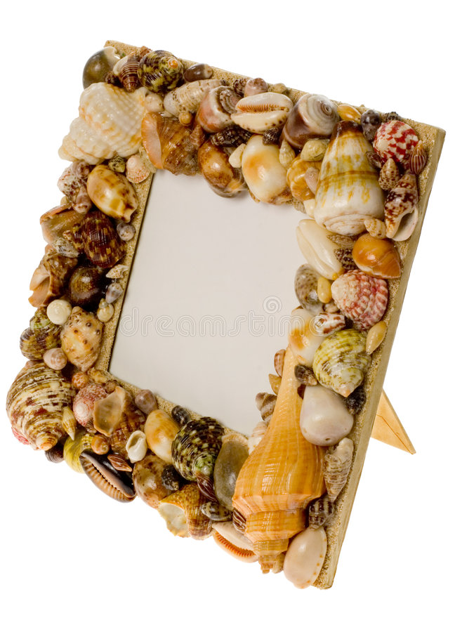 Frame made from seashells. Isolated on white background royalty free stock images